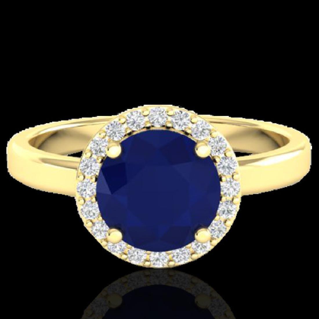 2 CTW Sapphire & Halo VS/SI Diamond Micro Pave Ring