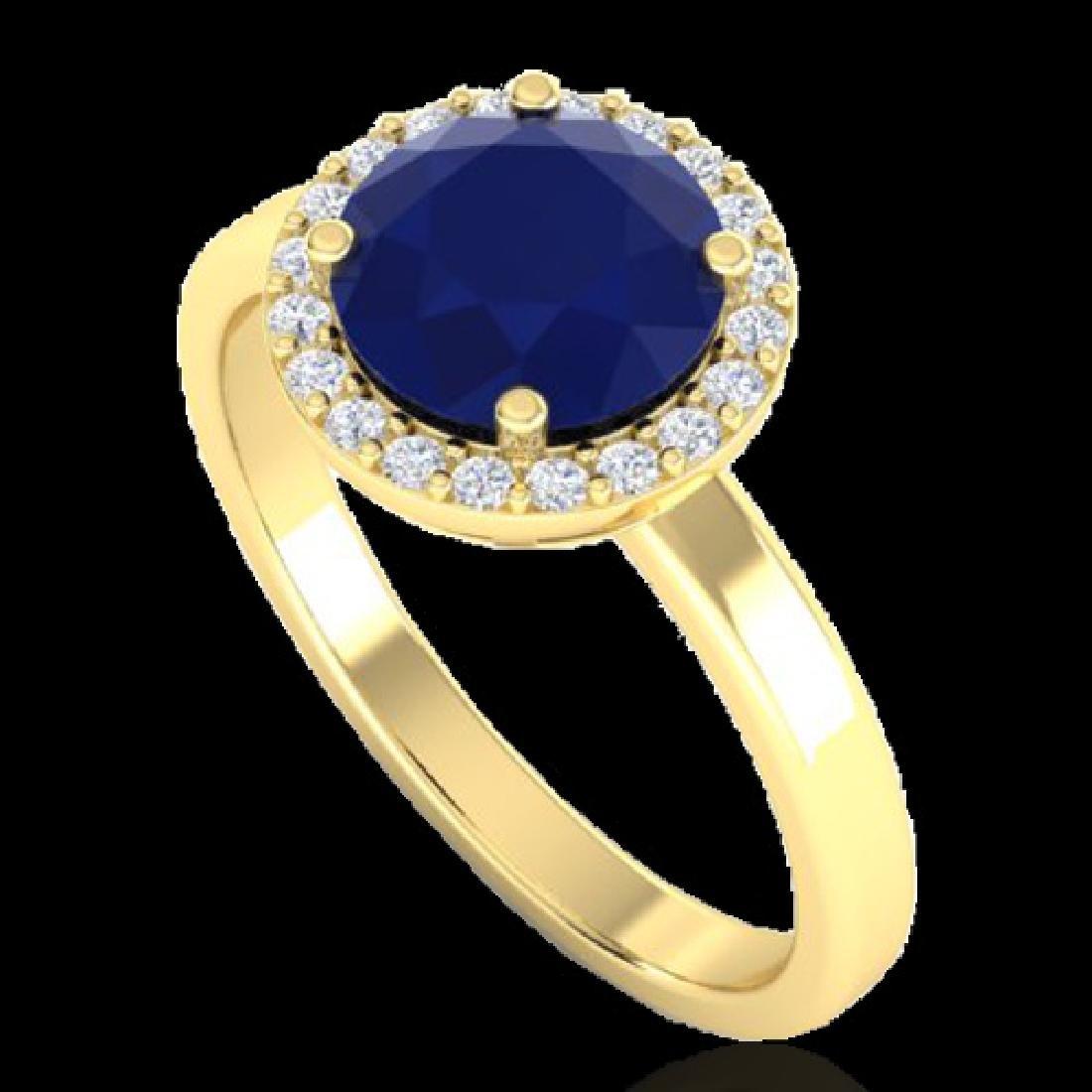 2 CTW Sapphire & Halo VS/SI Diamond Micro Pave Ring - 2