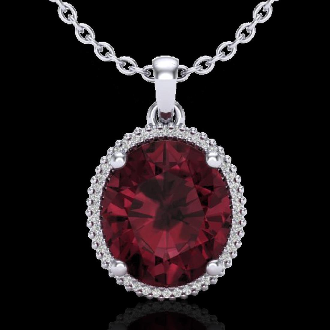 11 CTW Garnet & Micro Pave VS/SI Diamond Halo Necklace