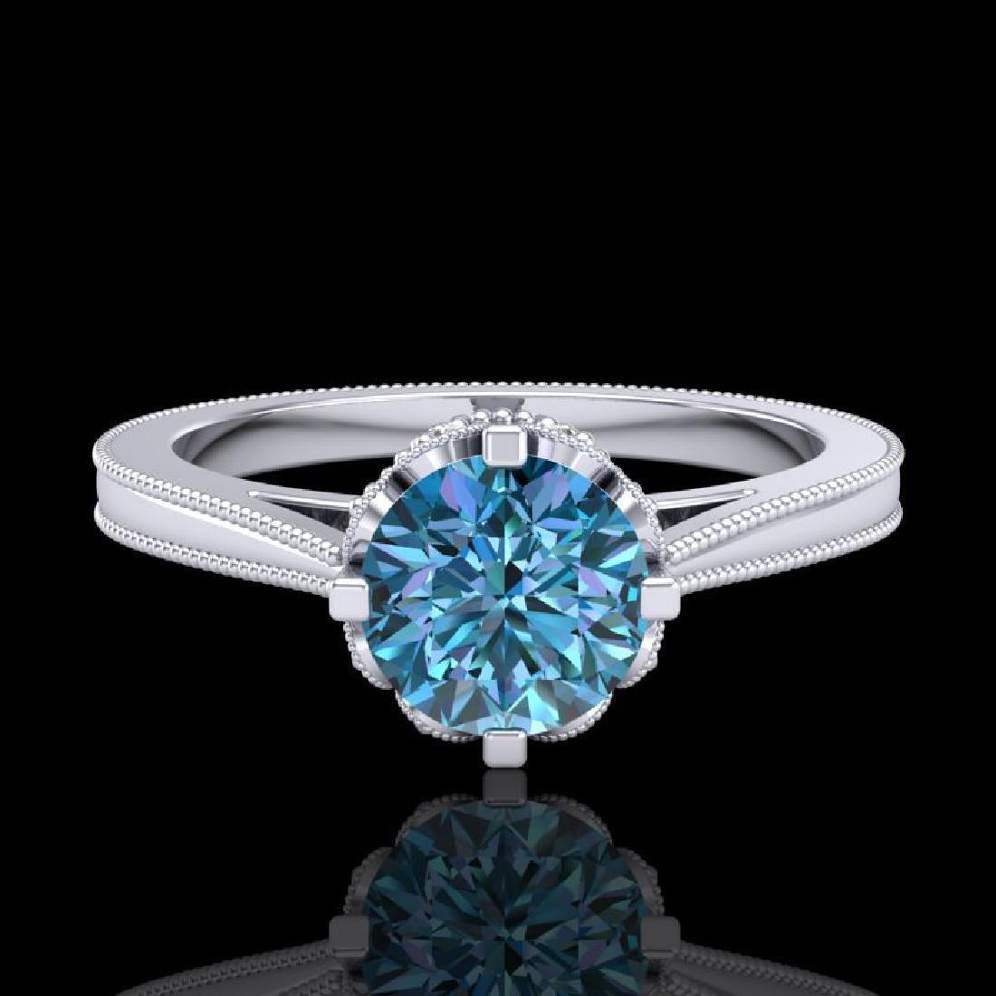 1.14 CTW Fancy Intense Blue Diamond Solitaire Art Deco - 2