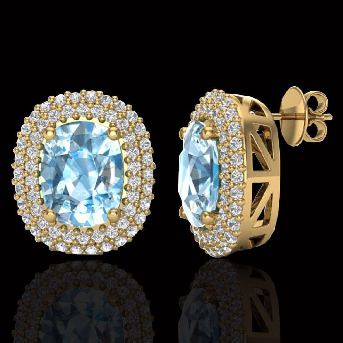 6 CTW Sky Blue Topaz & Micro Pave VS/SI Diamond Halo - 2