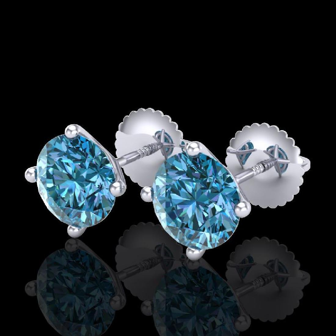 2.5 CTW Fancy Intense Blue Diamond Art Deco Stud
