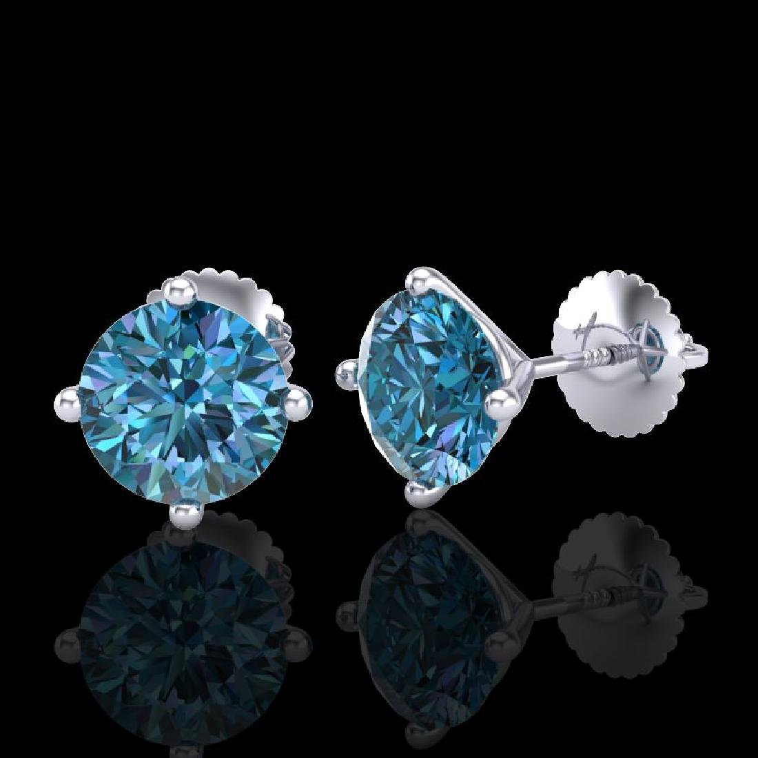 2.5 CTW Fancy Intense Blue Diamond Art Deco Stud - 2