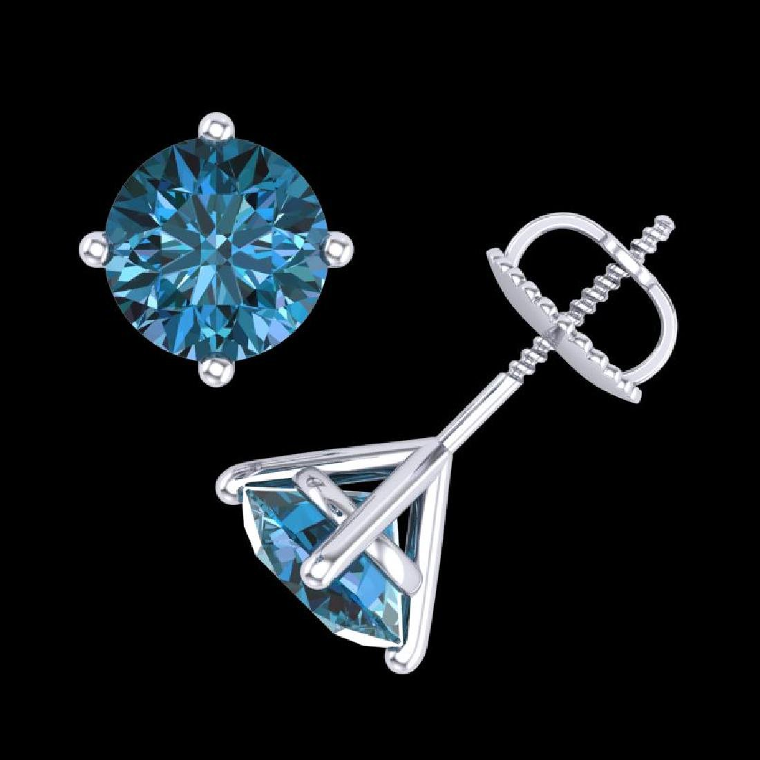 2.5 CTW Fancy Intense Blue Diamond Art Deco Stud - 3