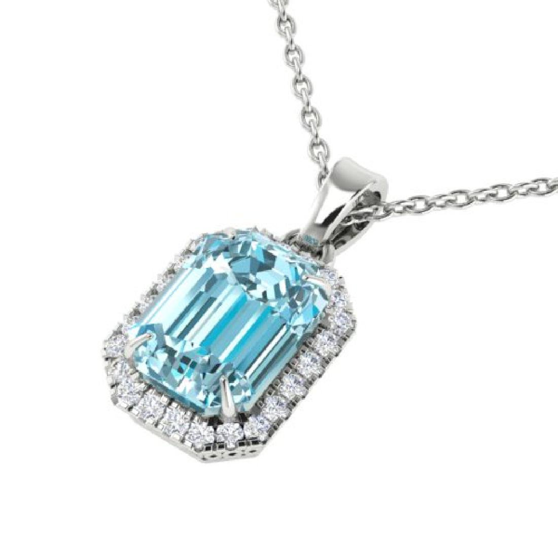 6 CTW Sky Blue Topaz And Micro Pave VS/SI Diamond Halo