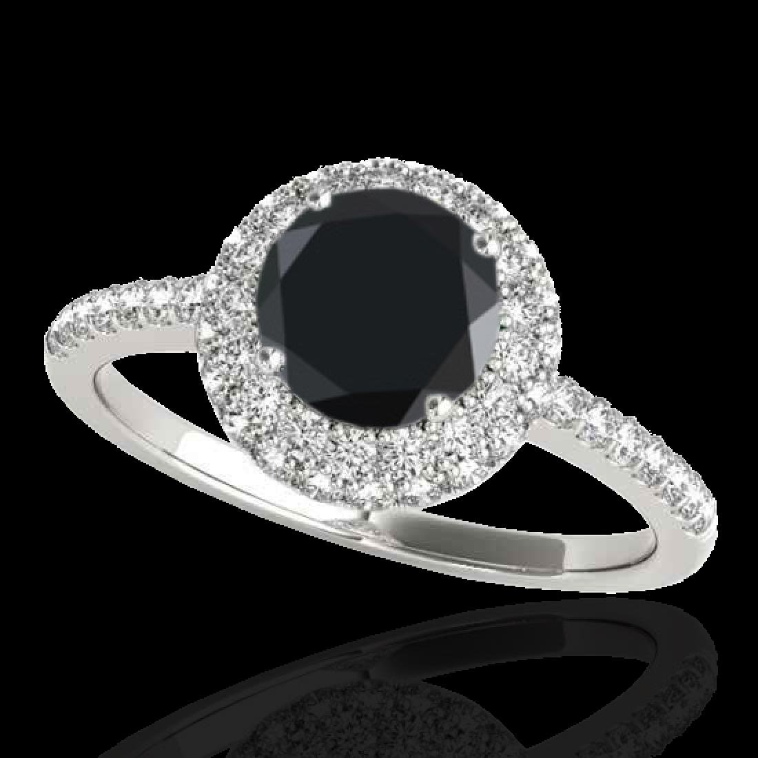 1.6 CTW Certified VS Black Diamond Solitaire Halo Ring
