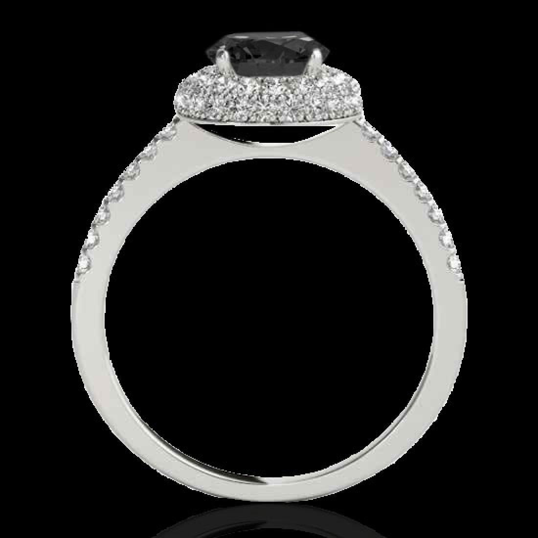 1.6 CTW Certified VS Black Diamond Solitaire Halo Ring - 2