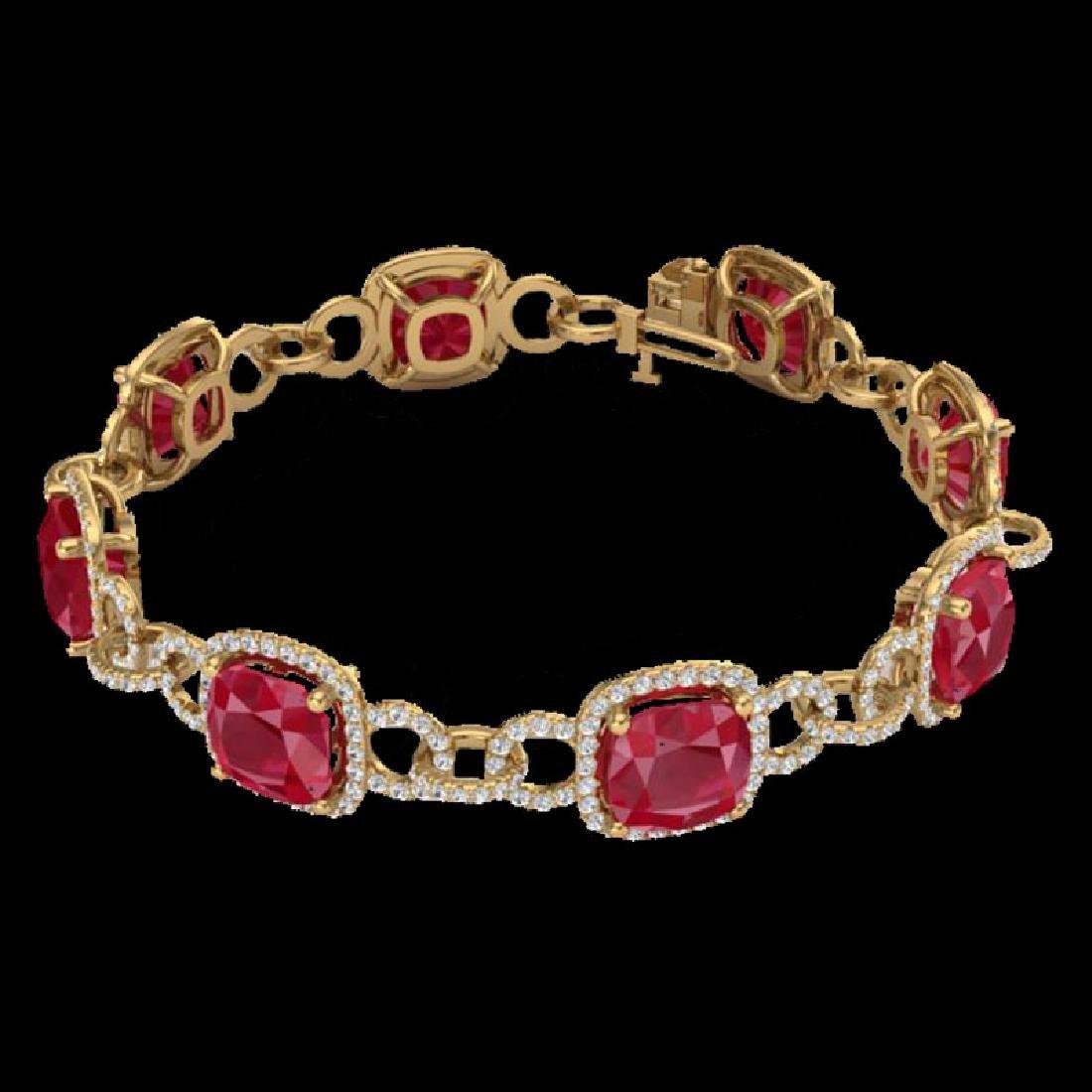 25 CTW Ruby & Micro VS/SI Diamond Bracelet 14K Yellow - 2