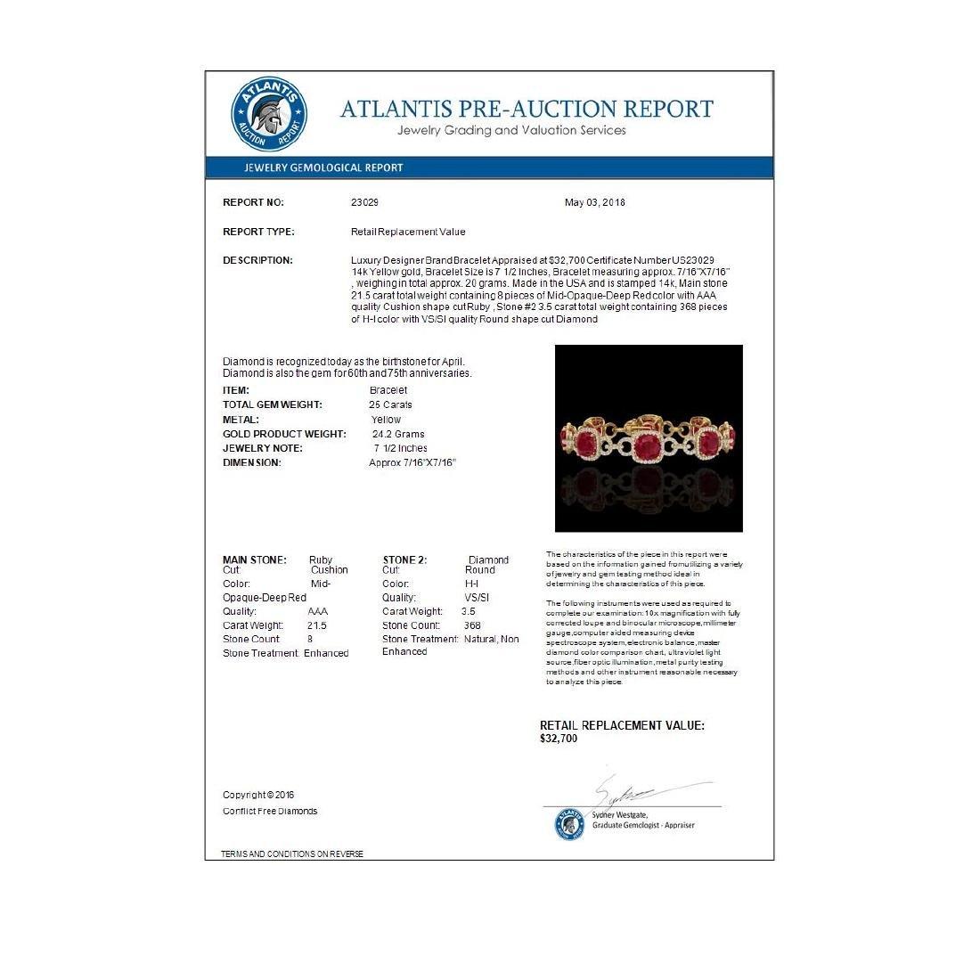 25 CTW Ruby & Micro VS/SI Diamond Bracelet 14K Yellow - 3