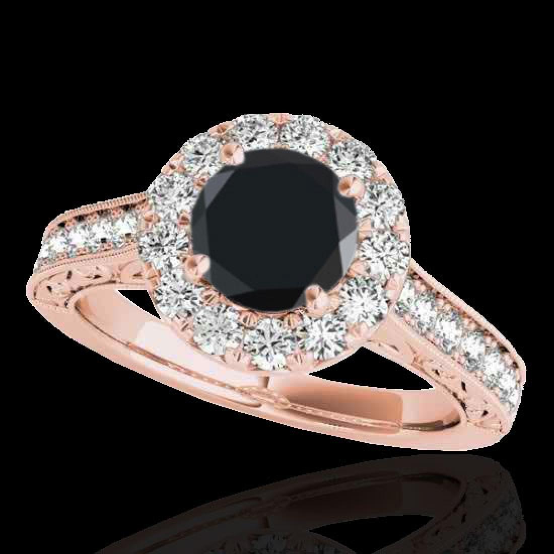 2.22 CTW Certified VS Black Diamond Solitaire Halo Ring
