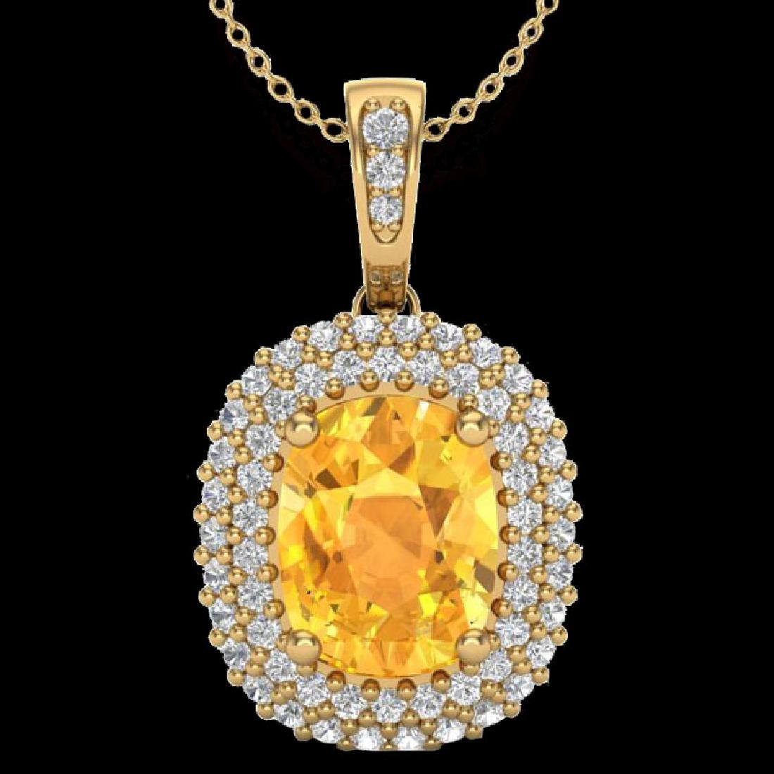 3 CTW Citrine & Micro Pave VS/SI Diamond Halo Necklace