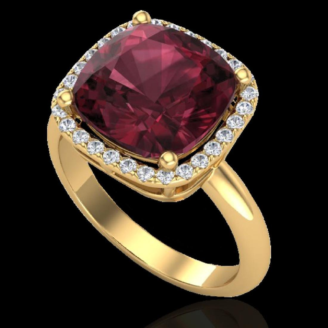 6 CTW Garnet And Micro Pave Halo VS/SI Diamond Ring - 2