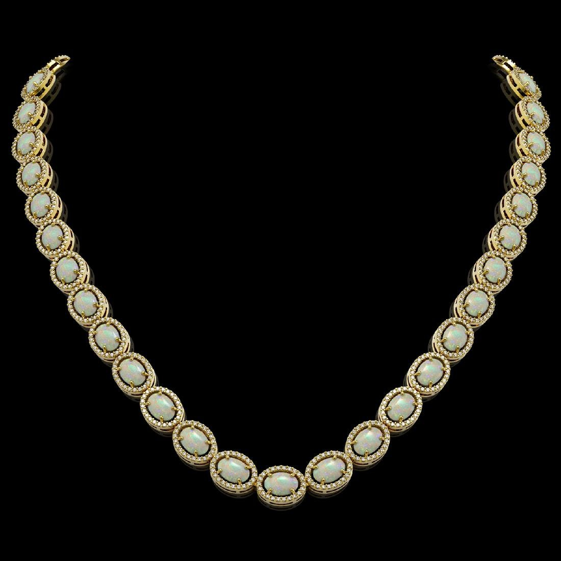 32.42 CTW Opal & Diamond Halo Necklace 10K Yellow Gold
