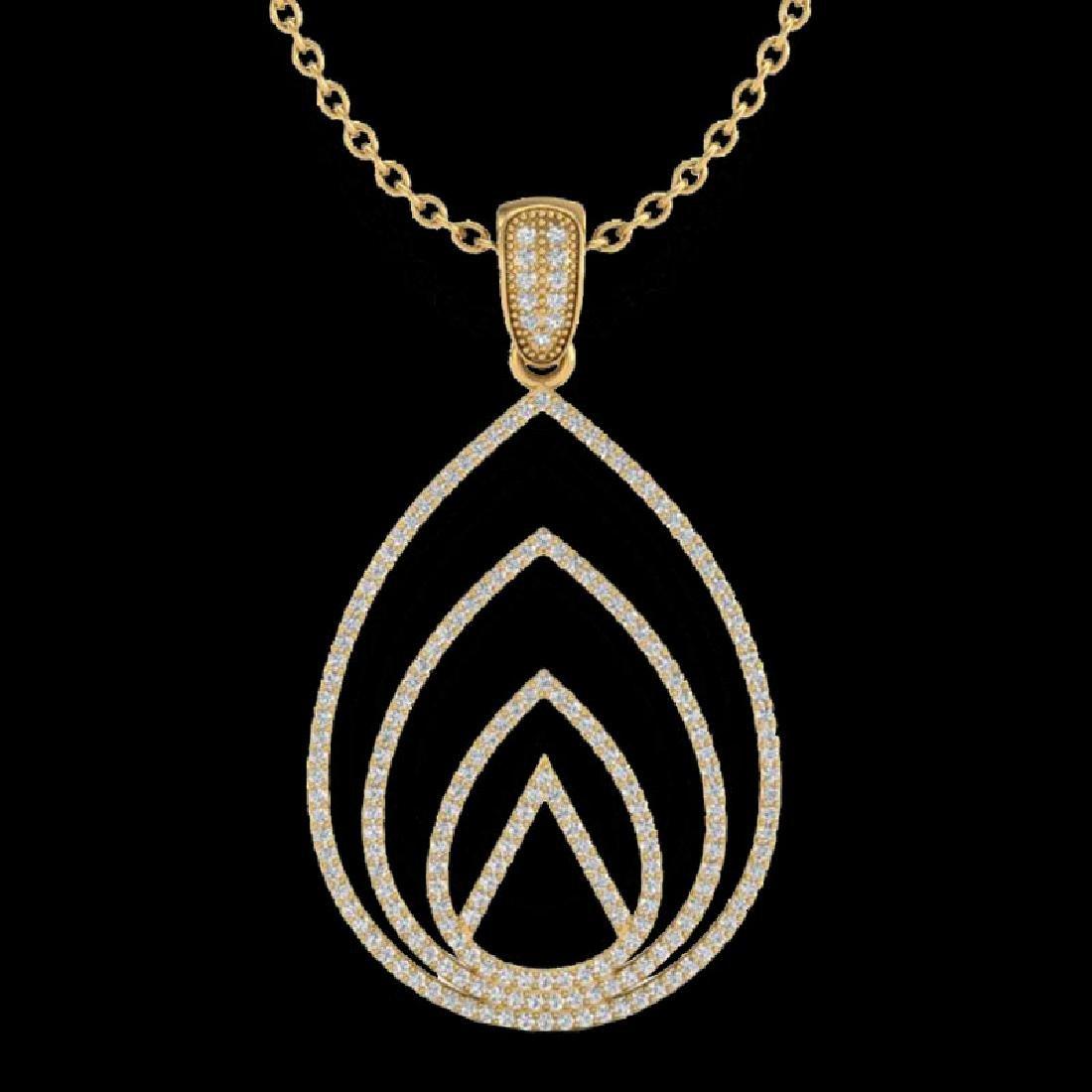 1.25 CTW Micro Pave VS/SI Diamond Designer Necklace 18K - 2