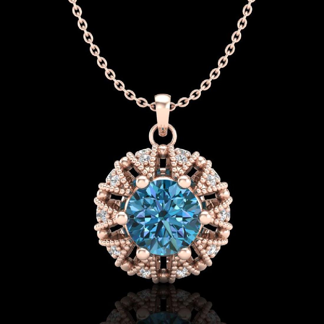 1.2 CTW Fancy Intense Blue Diamond Art Deco Stud