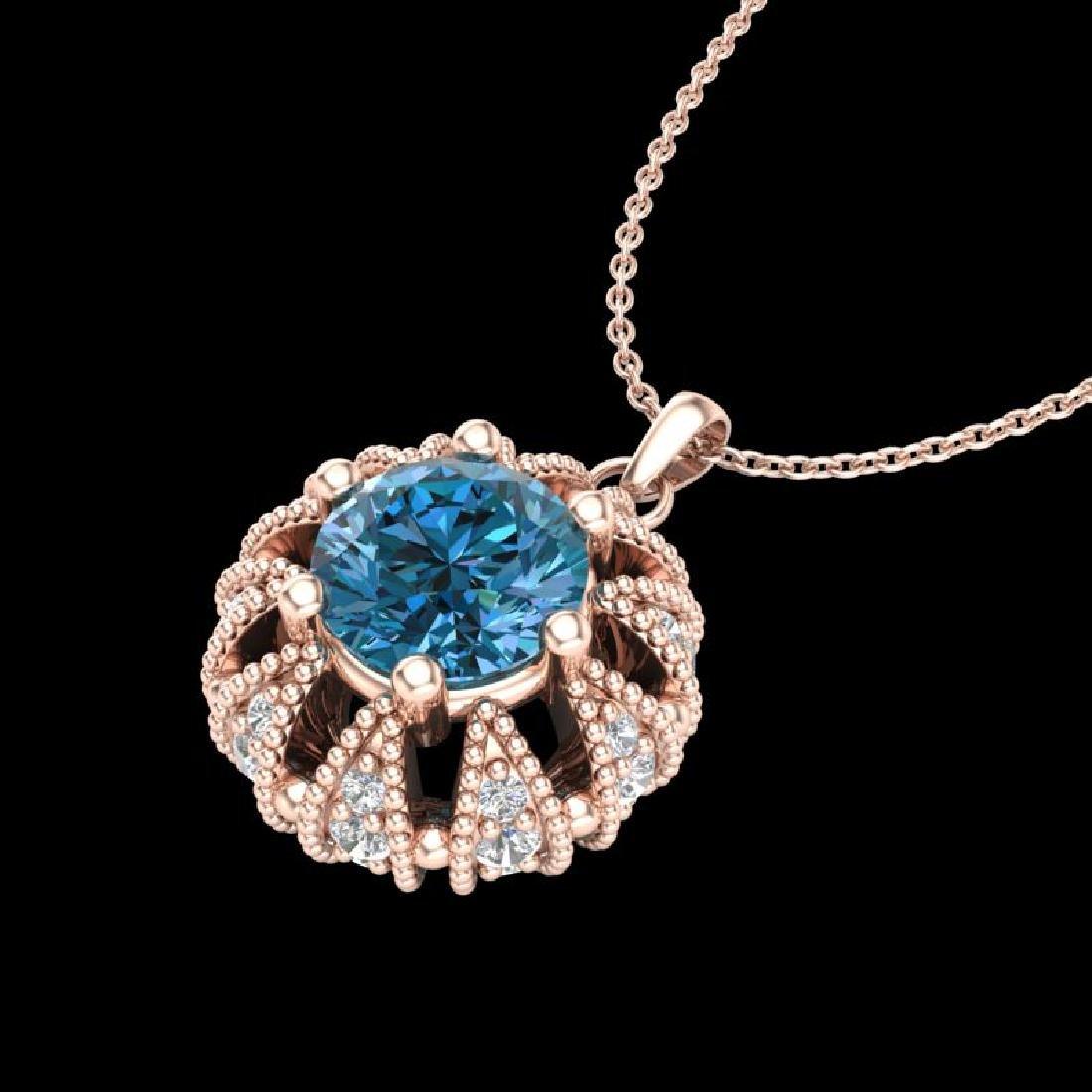 1.2 CTW Fancy Intense Blue Diamond Art Deco Stud - 2