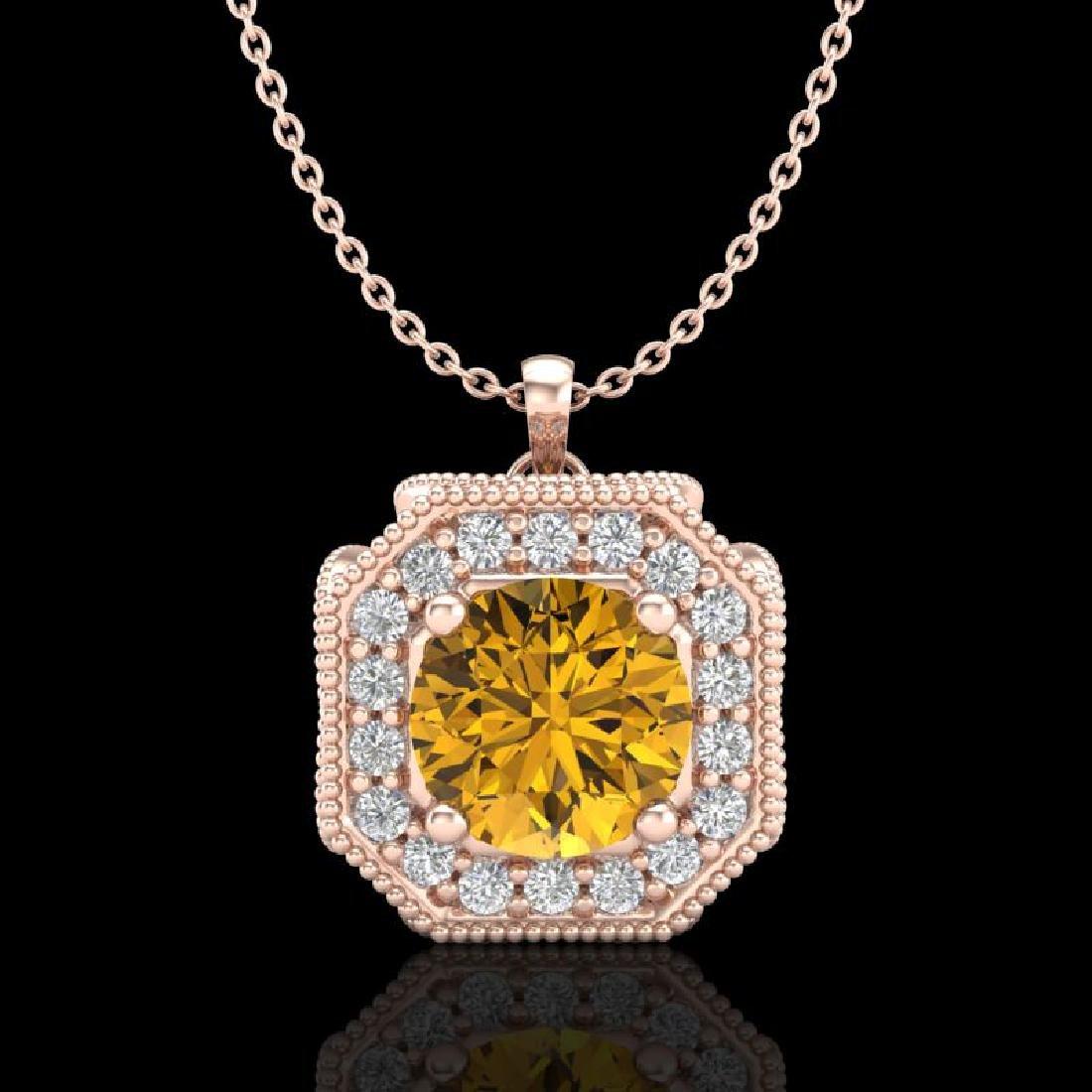 1.54 CTW Intense Fancy Yellow Diamond Art Deco Stud