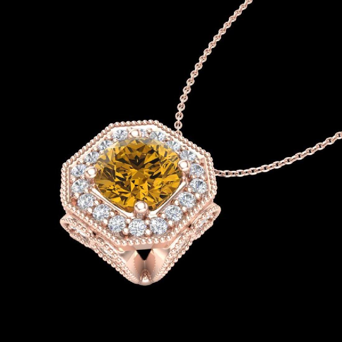 1.54 CTW Intense Fancy Yellow Diamond Art Deco Stud - 2