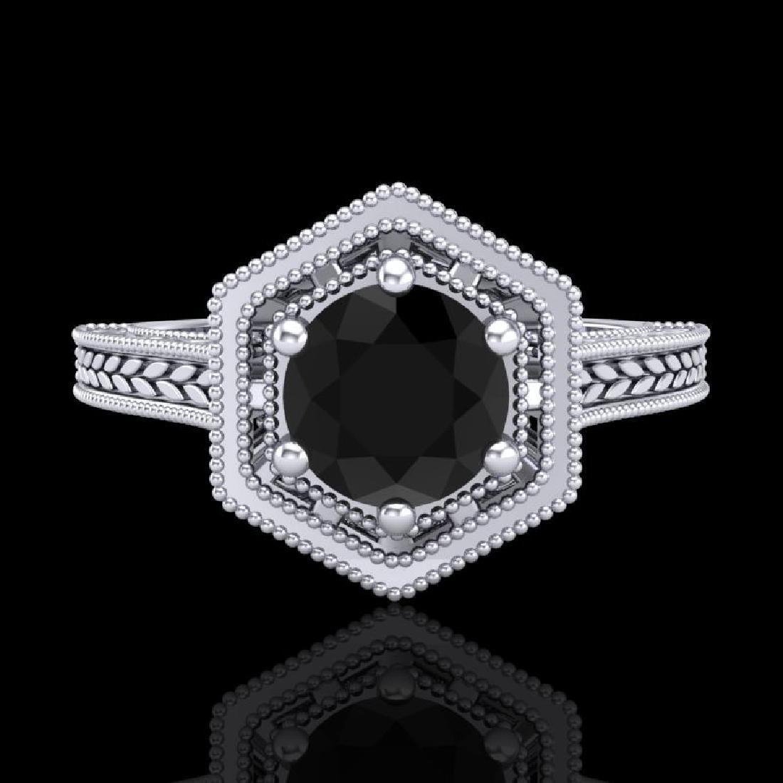 0.77 CTW Fancy Black Diamond Solitaire Engagement Art - 2