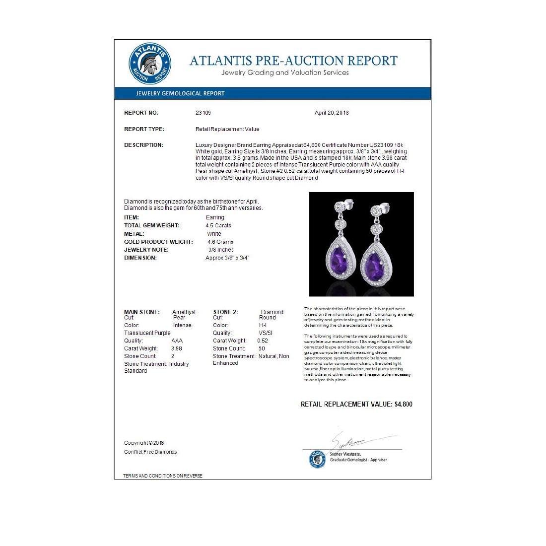 4.50 CTW Amethyst & Micro Pave VS/SI Diamond Earrings - 3