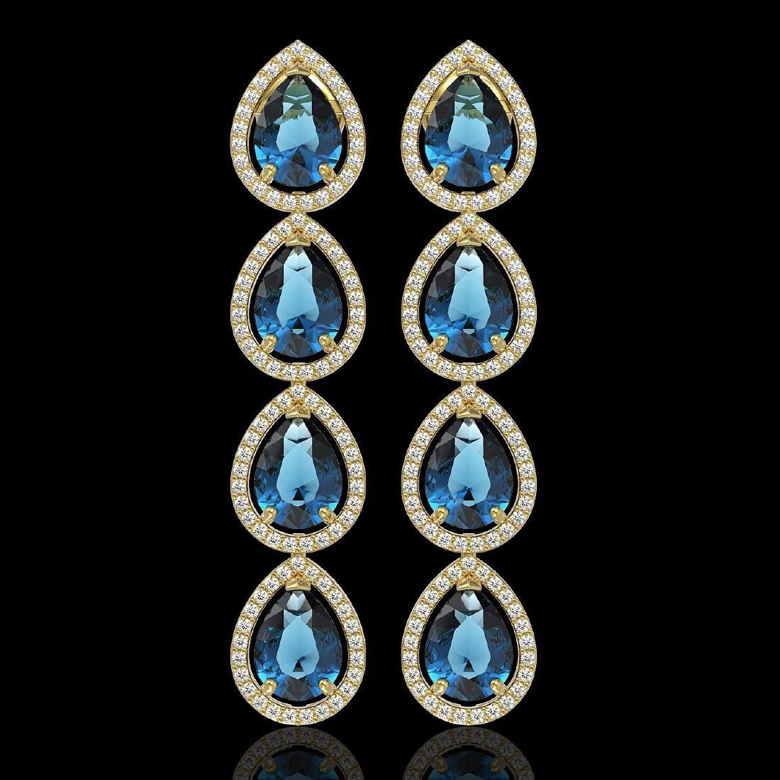 11.2 CTW London Topaz & Diamond Halo Earrings 10K