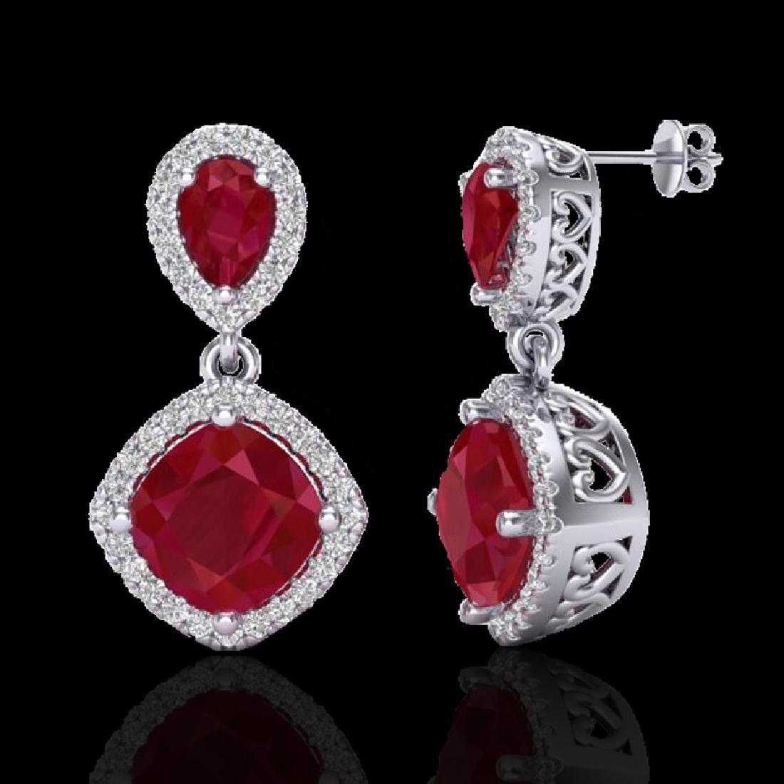 7 CTW Ruby & Micro Pave VS/SI Diamond Earrings Designer - 2