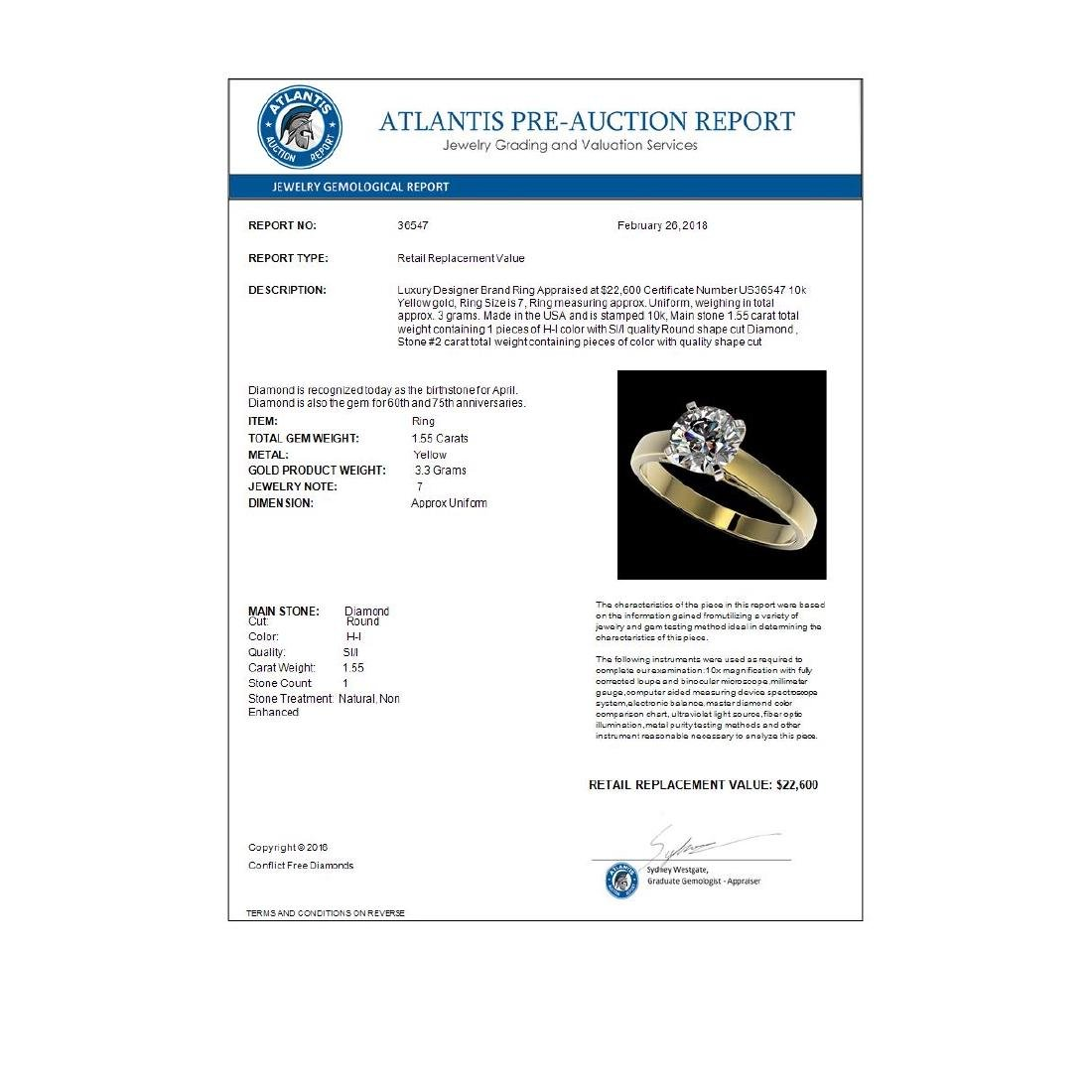 1.55 CTW Certified H-SI/I Quality Diamond Solitaire - 3