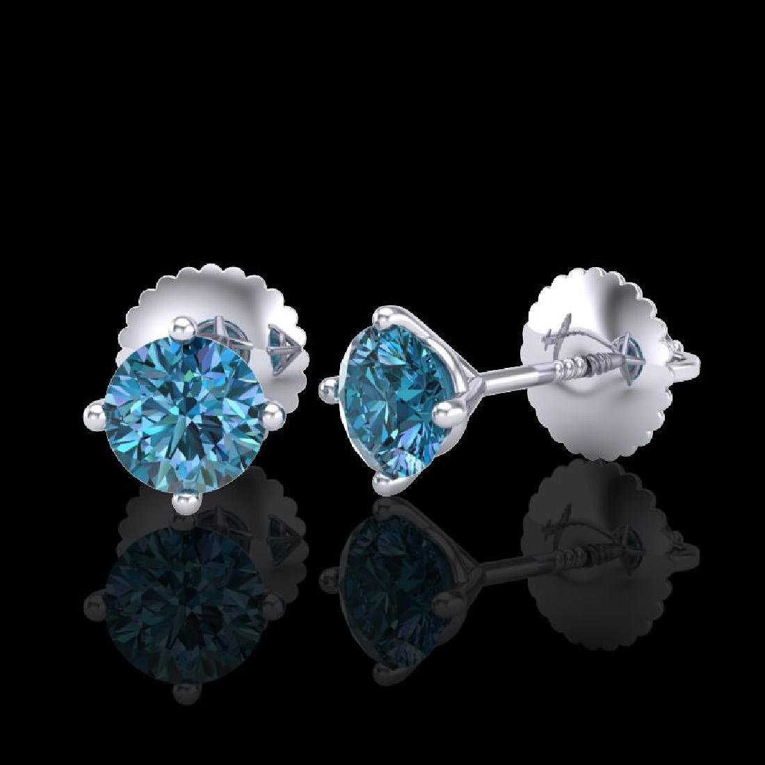 0.65 CTW Fancy Intense Blue Diamond Art Deco Stud - 2