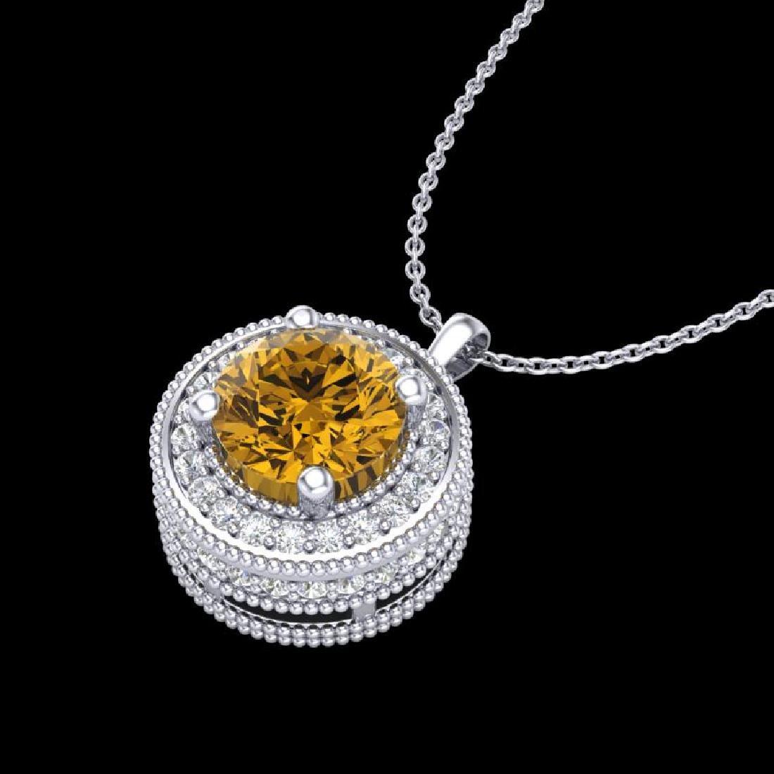 1.25 CTW Intense Fancy Yellow Diamond Art Deco Stud - 2