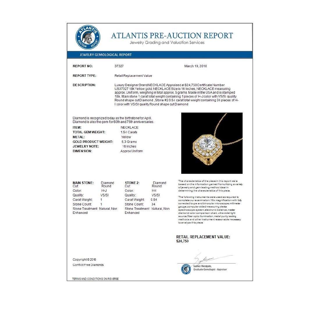 1.54 CTW VS/SI Diamond Solitaire Art Deco Necklace 18K - 2
