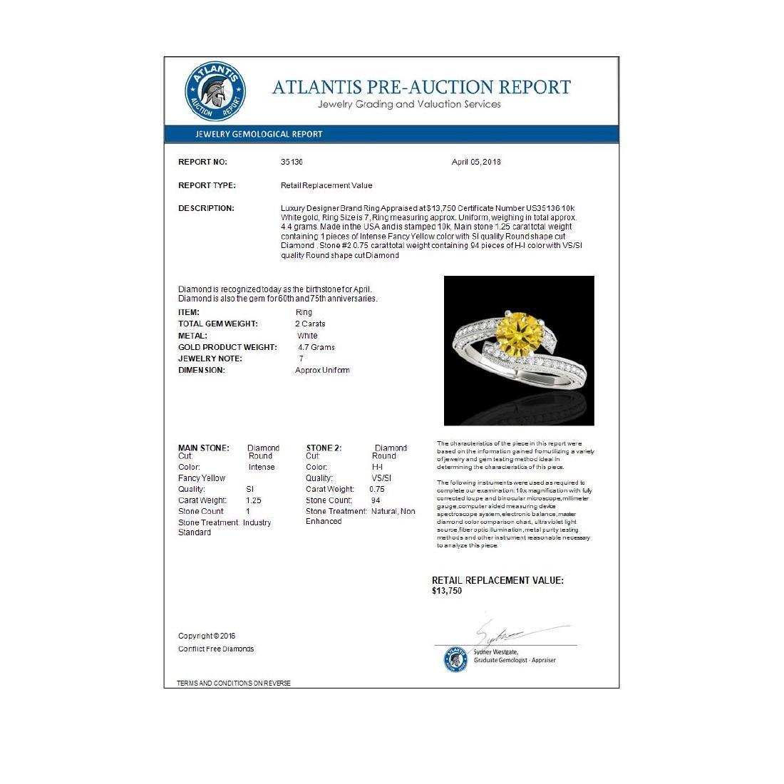 2 CTW Certified SI/I Fancy Intense Yellow Diamond - 3