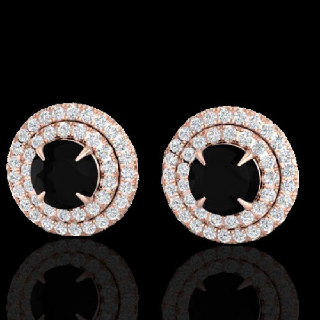 2 CTW Micro Pave VS/SI Diamond Stud Earrings Double
