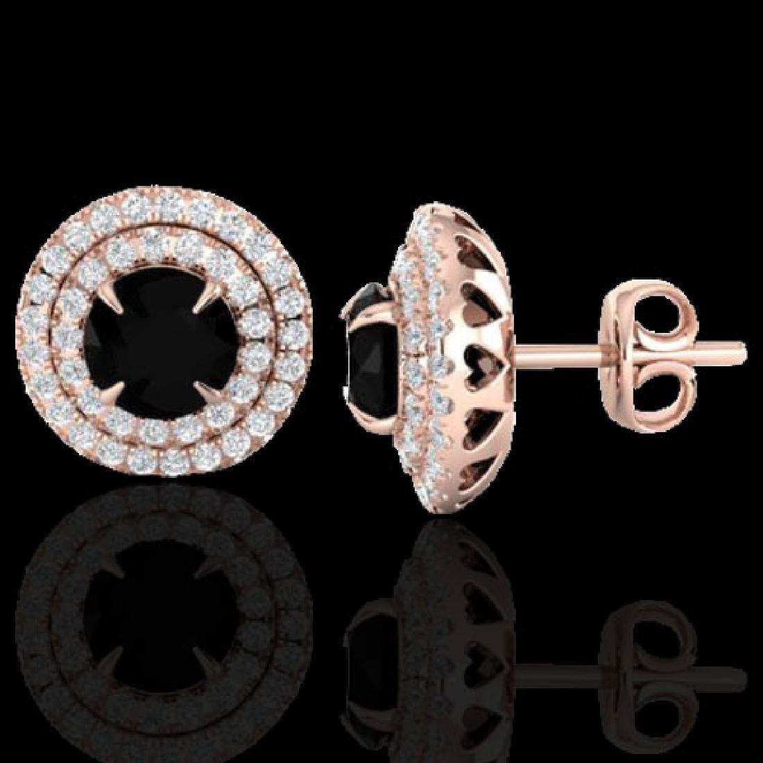 2 CTW Micro Pave VS/SI Diamond Stud Earrings Double - 2