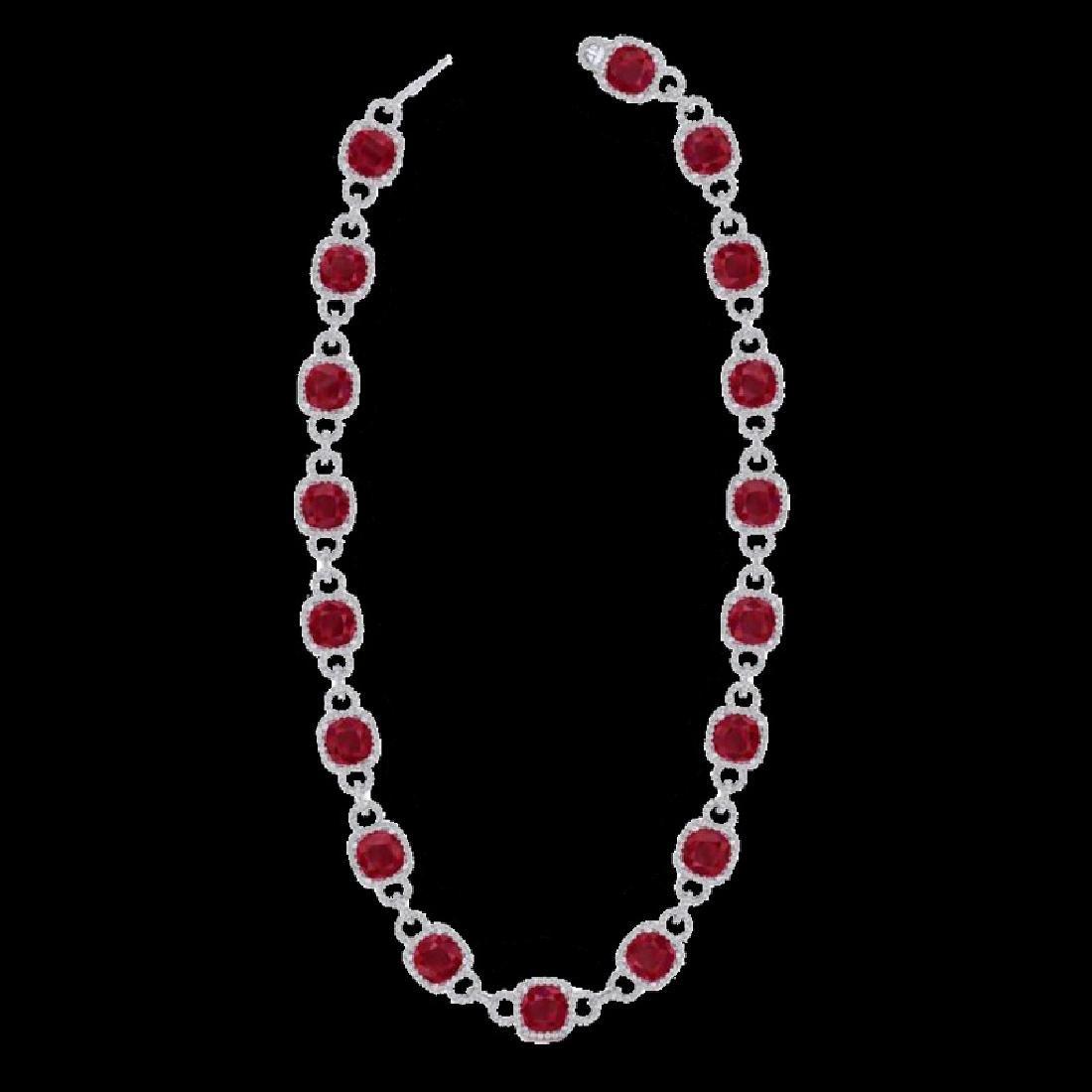 56 CTW Ruby & Micro VS/SI Diamond Eternity Necklace 14K - 2