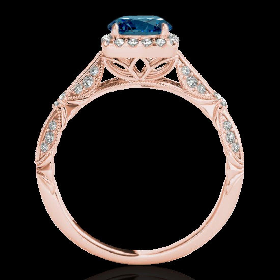 1.36 CTW SI Certified Fancy Blue Diamond Solitaire Halo - 2