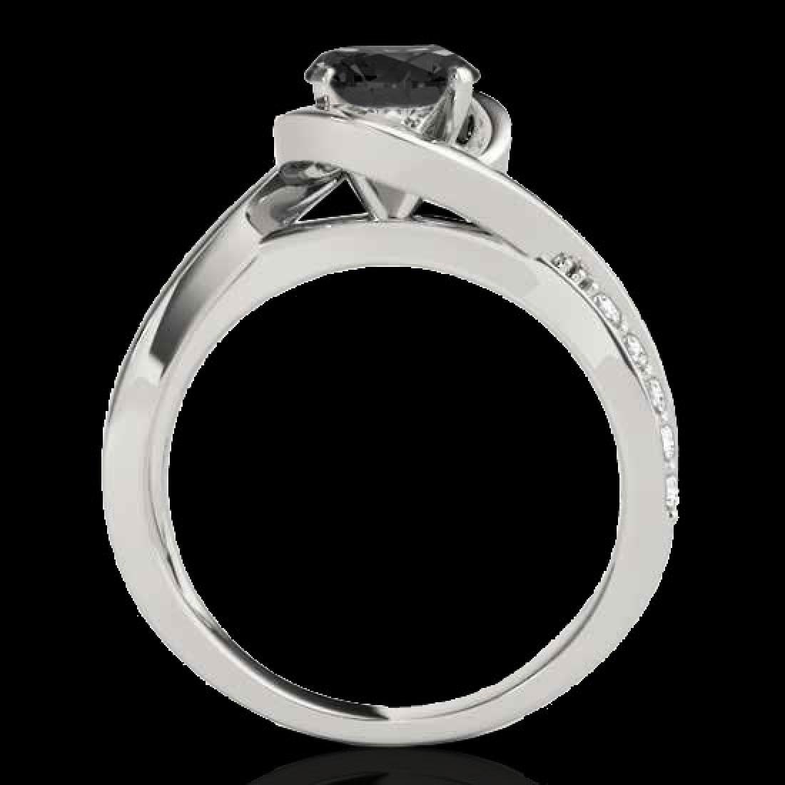 1.15 CTW Certified VS Black Diamond Solitaire Ring 10K - 2