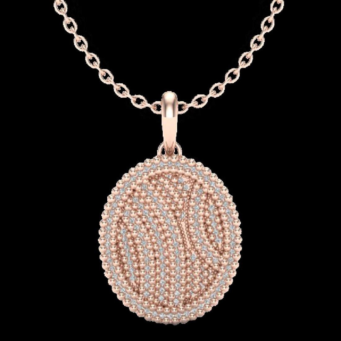 1 CTW Micro Pave VS/SI Diamond Necklace 14K Rose Gold