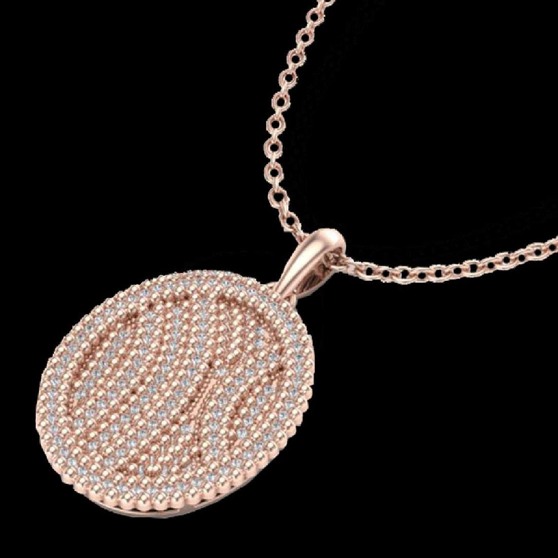 1 CTW Micro Pave VS/SI Diamond Necklace 14K Rose Gold - 2