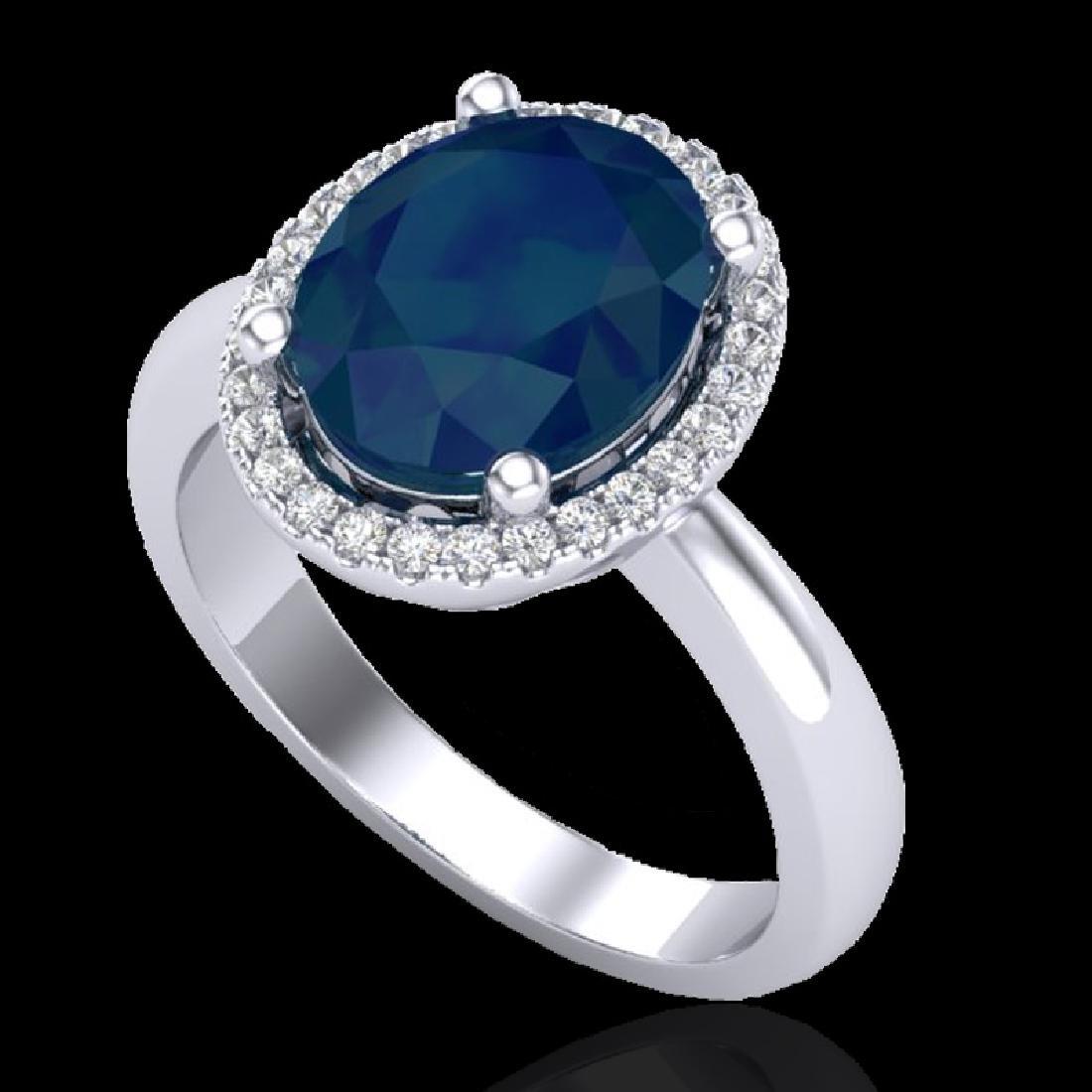 3 CTW Sapphire And Micro Pave VS/SI Diamond Ring Halo - 2