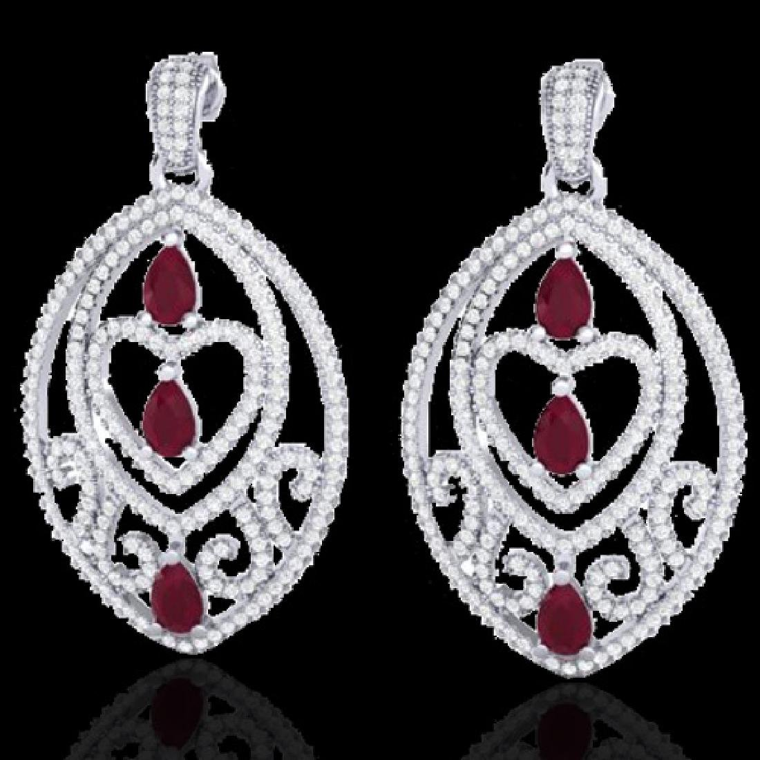 7 CTW Ruby & Micro Pave VS/SI Diamond Heart Earrings