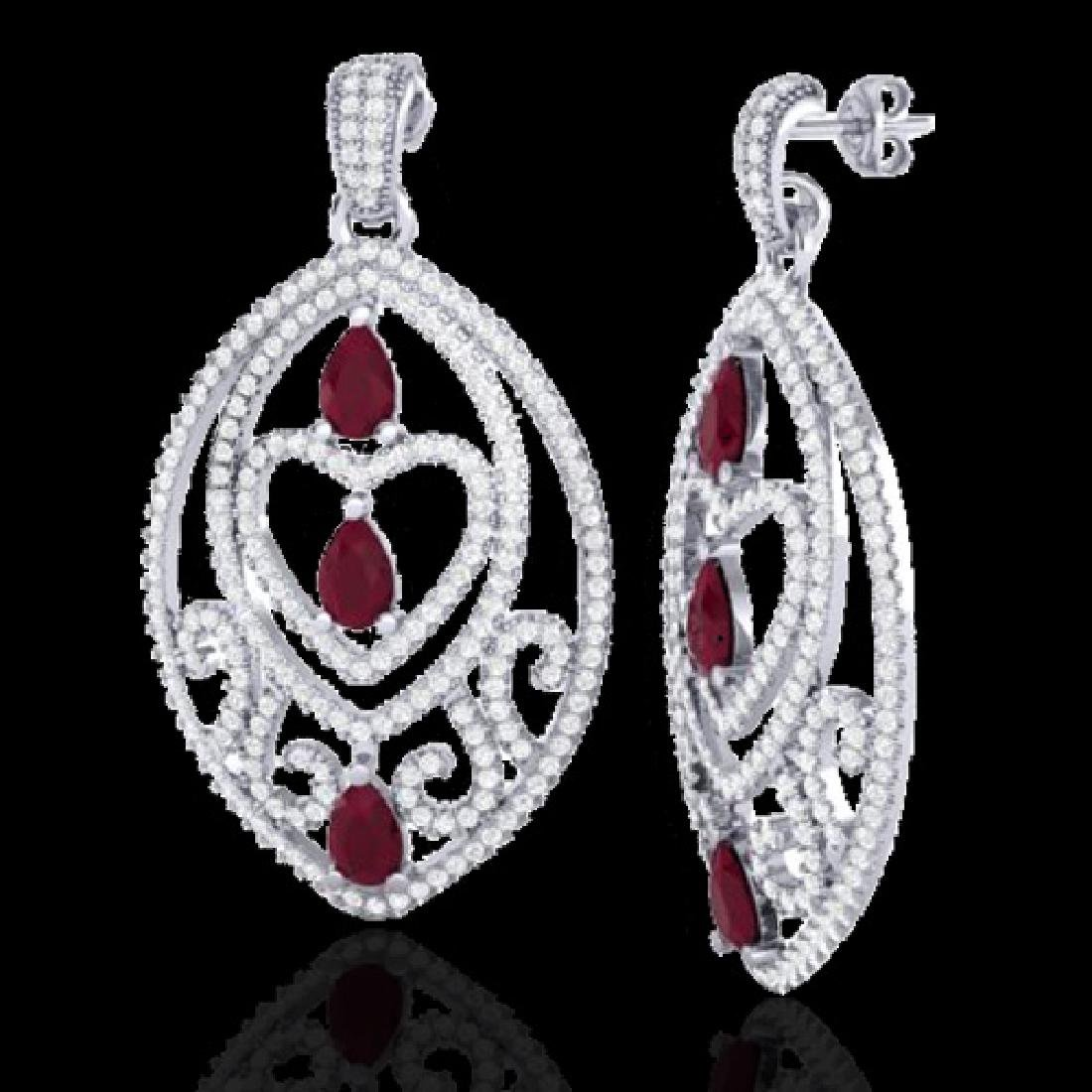 7 CTW Ruby & Micro Pave VS/SI Diamond Heart Earrings - 2