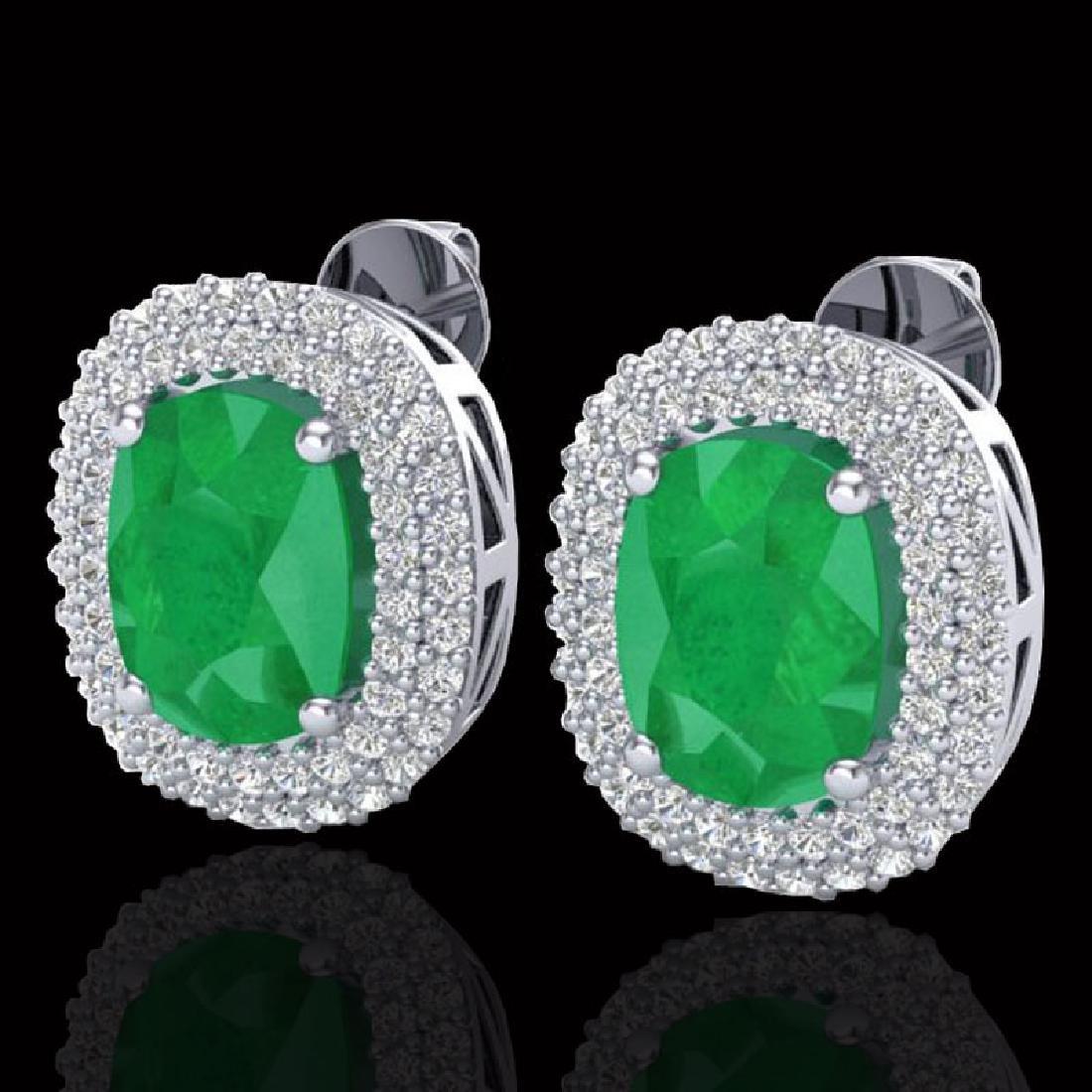 6.30 CTW Emerald & Micro Pave VS/SI Diamond Halo