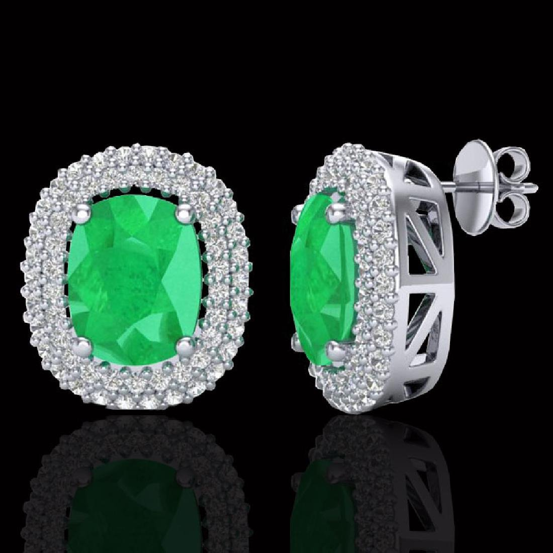6.30 CTW Emerald & Micro Pave VS/SI Diamond Halo - 2
