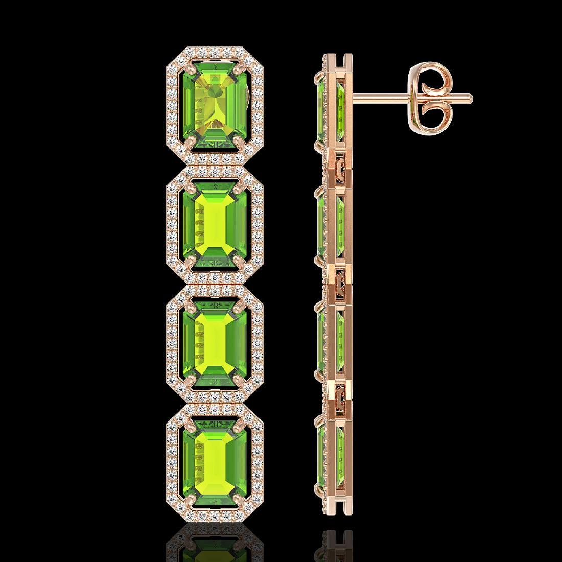 17.81 CTW Peridot & Diamond Halo Earrings 10K Rose Gold - 2