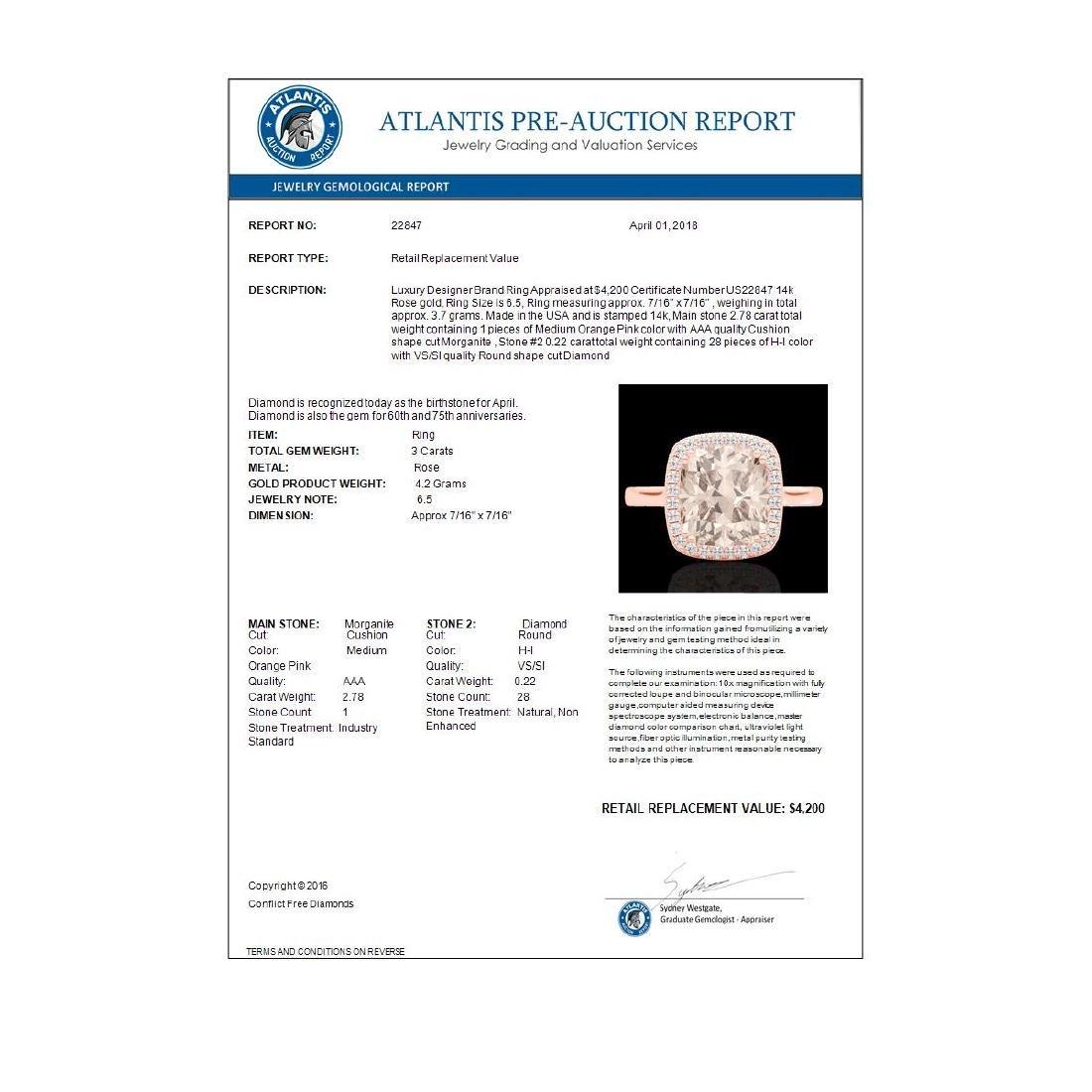 3 CTW Morganite & Micro Pave VS/SI Diamond Halo - 3
