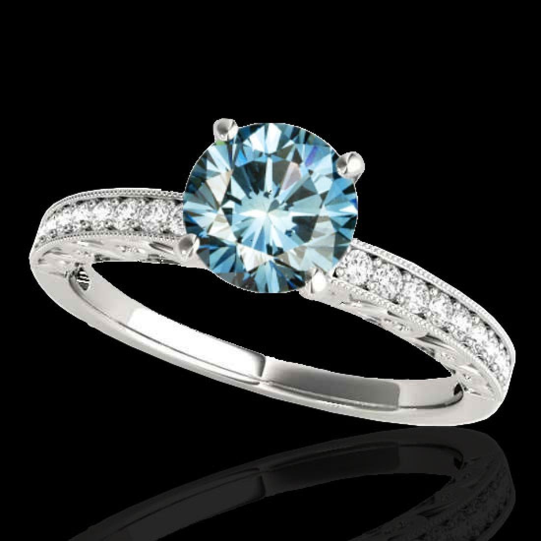 1.43 CTW SI Certified Blue Diamond Solitaire Antique