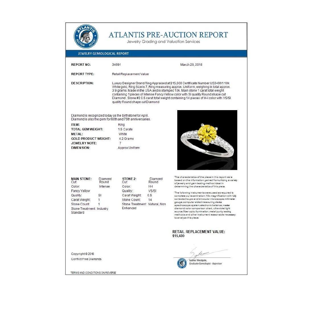 1.5 CTW Certified SI/I Fancy Intense Yellow Diamond - 3