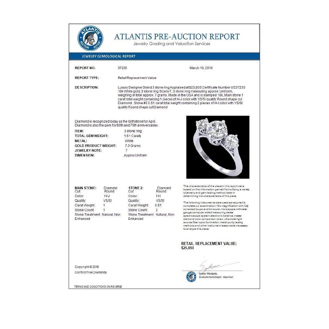 1.51 CTW VS/SI Diamond Solitaire Art Deco 3 Stone Ring - 3
