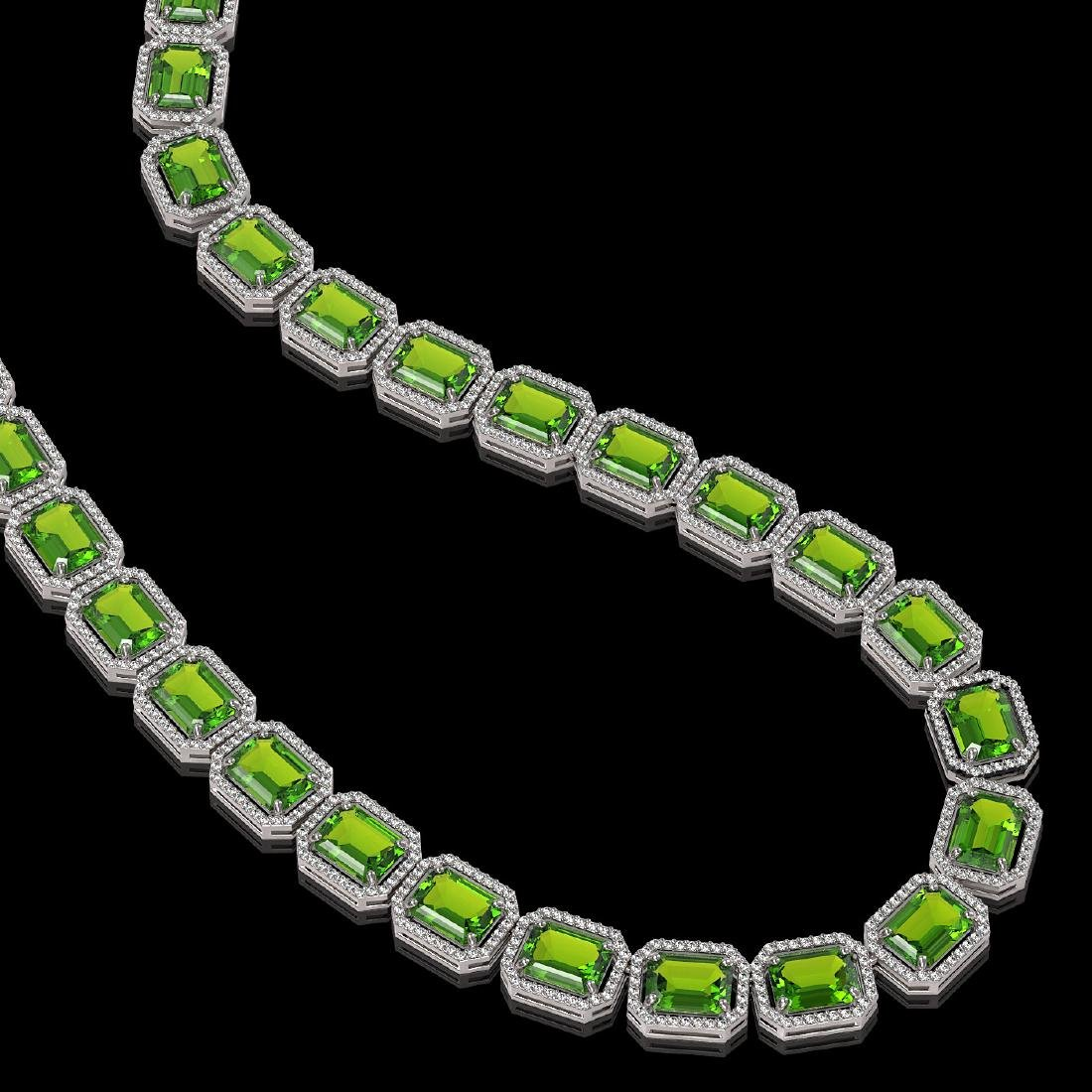 73.41 CTW Peridot & Diamond Halo Necklace 10K White - 2