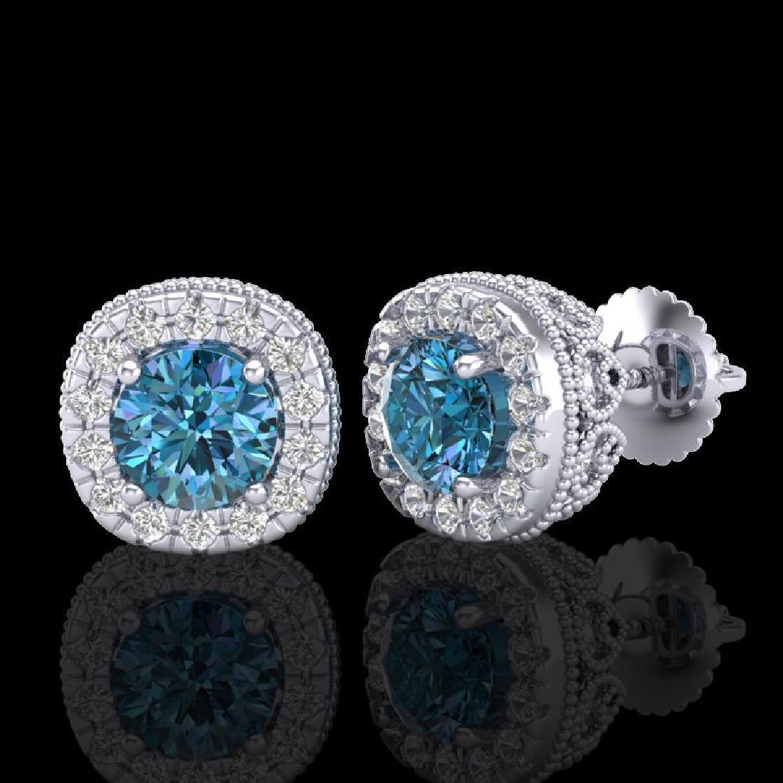 1.69 CTW Fancy Intense Blue Diamond Art Deco Stud - 2